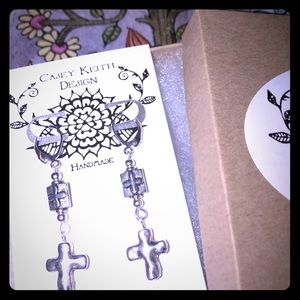 Casey Keith Design Jewelry - Dangling Cross Earrings
